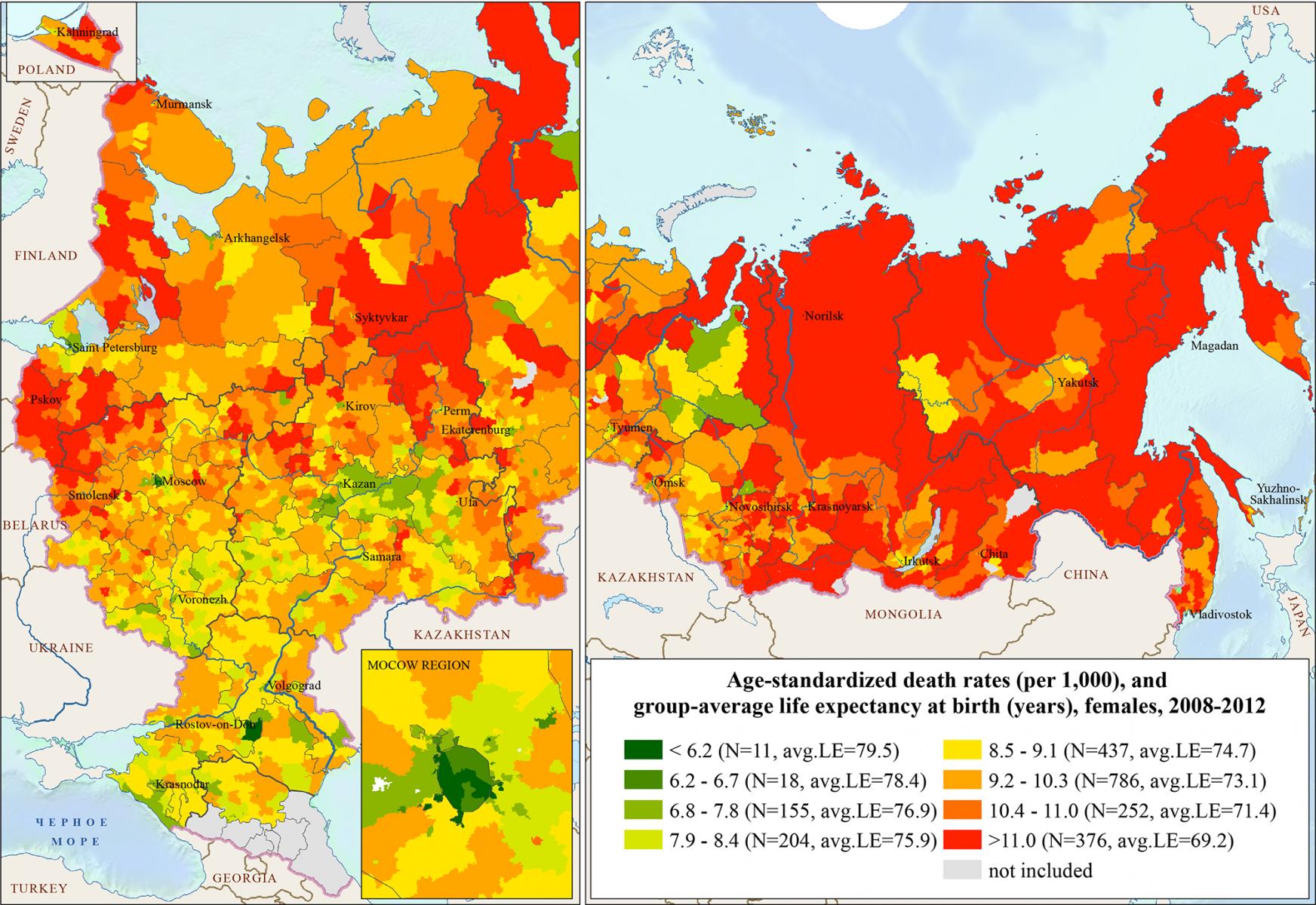 Смертность женщин по районам / городам