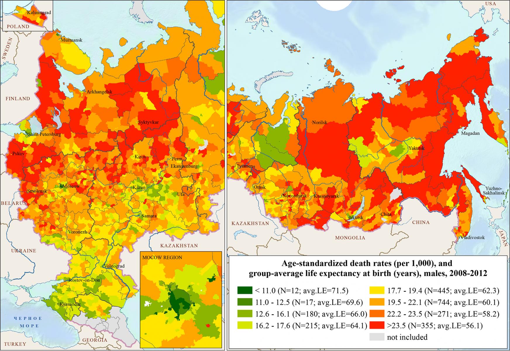 Смертность мужчин по районам / городам